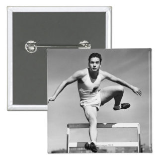 Man Hurdling 15 Cm Square Badge
