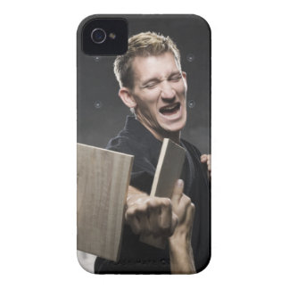 man in a black karate gi practicing martial arts iPhone 4 covers