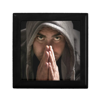 Man in a hoodie small square gift box