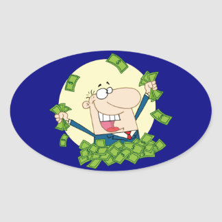 Man in a pile of money oval sticker