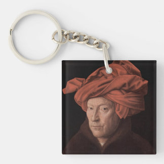 Man in a Turban Double-Sided Square Acrylic Key Ring
