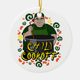 Man in Apron green Chili Cookoff Graphic Round Ceramic Decoration