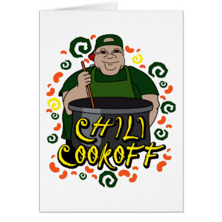Man in Apron green Chili Cookoff Graphic Note Card