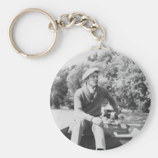 Man in Boat Basic Round Button Key Ring