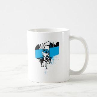 Man in Graffiti Coffee Mugs