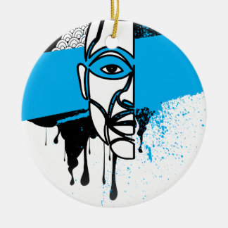Man in Graffiti Round Ceramic Decoration