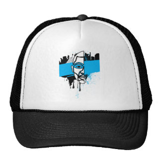 Man in Graffiti Trucker Hat