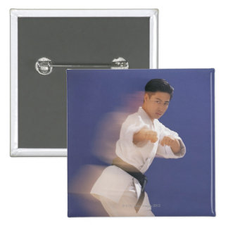 Man in karate stance 15 cm square badge