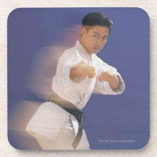 Man in karate stance beverage coaster