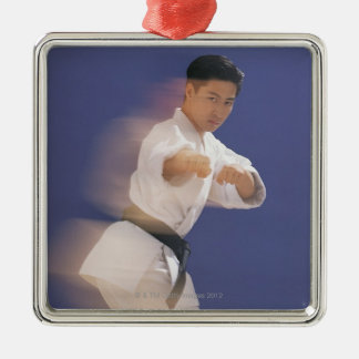 Man in karate stance Silver-Colored square decoration