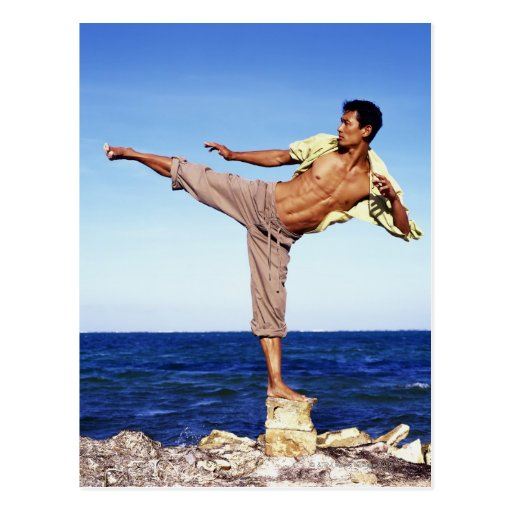 Man in martial arts kicking position, on beach, postcard