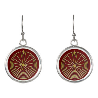 MAN IN THE MAZE gold + your background Earrings