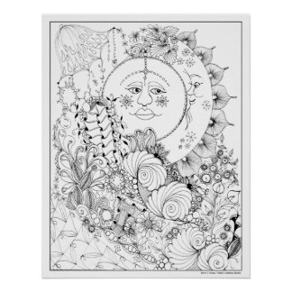 Man in the Moon Art Nouveau Adult Coloring Poster