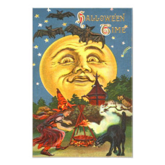 Man In The Moon Black Cat Witch Bat Full Moon Owl Photo Print