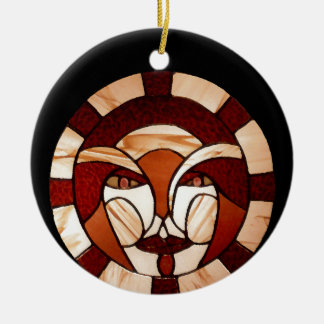 Man in the Moon Stained Glass Black Night 2 Christmas Ornament
