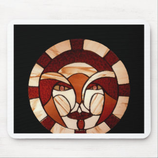 Man in the Moon Stained Glass Black Night Mouse Pad