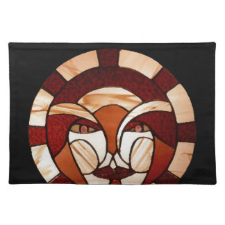 Man in the Moon Stained Glass Black Night Placemats