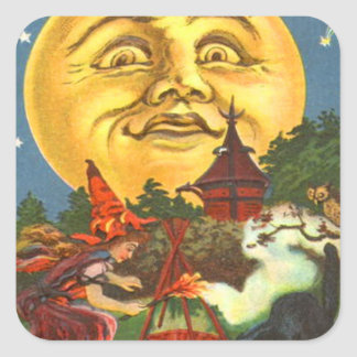 Man In The Moon  Witch  Full Moon Square Sticker