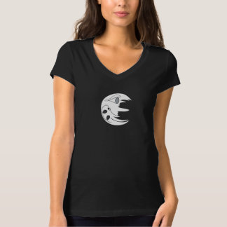 Man In The Moon Women's V-Neck T-Shirt with Text