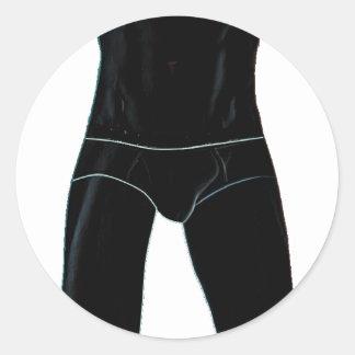 Man in Underwear Round Stickers