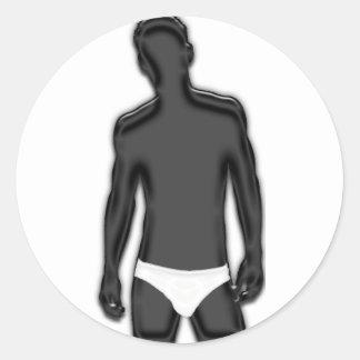 Man in Underwear Round Sticker