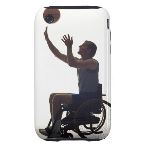Man in wheelchair playing with basketball tough iPhone 3 cases