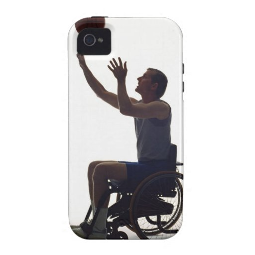 Man in wheelchair playing with basketball Case-Mate iPhone 4 cases