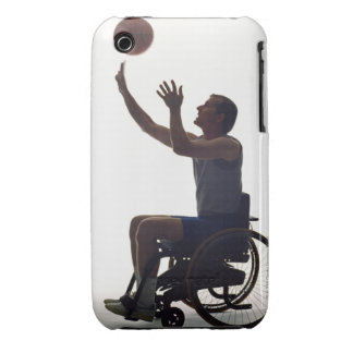 Man in wheelchair playing with basketball iPhone 3 Case-Mate cases