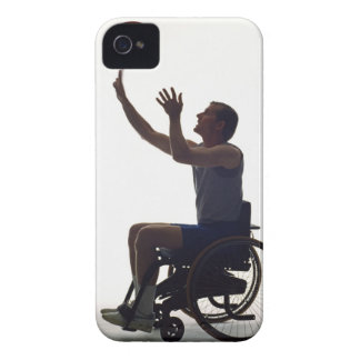 Man in wheelchair playing with basketball iPhone 4 cover