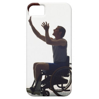 Man in wheelchair playing with basketball iPhone 5 cases