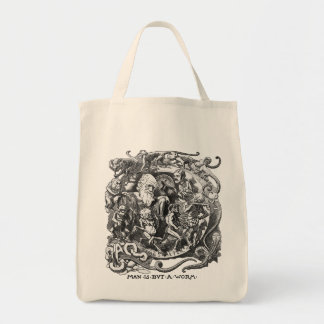 Man Is But A Worm Grocery Tote Bag