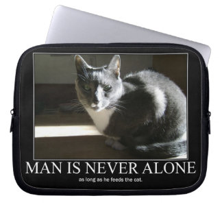 Man is Never Alone as Long As Cat Artwork Laptop Sleeves