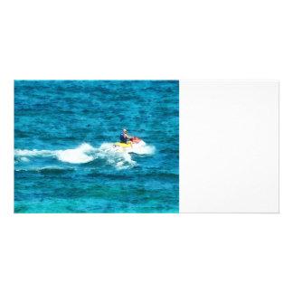 Man Jet Skiing Customized Photo Card