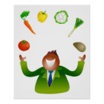 Man Juggling Vegetables Poster