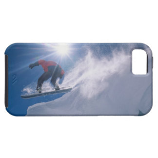 Man jumping off a large cornince on a snowboard iPhone 5 case