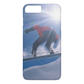 Man jumping off a large cornince on a snowboard iPhone 8 plus/7 plus case