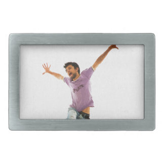 Man jumping rectangular belt buckles