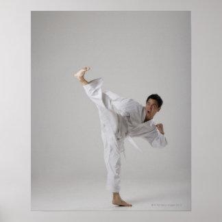 Man kicking high in the air, martial arts poster
