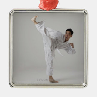Man kicking high in the air, martial arts Silver-Colored square decoration