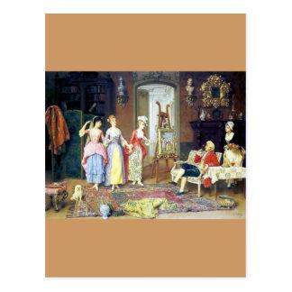 Man Ladies Victorian Three Graces painting Postcard