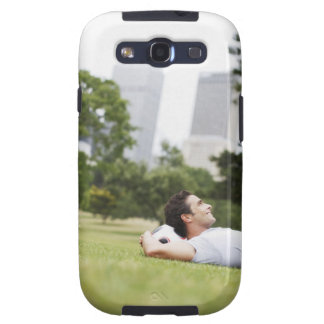 Man laying in urban park with soccer ball samsung galaxy SIII case