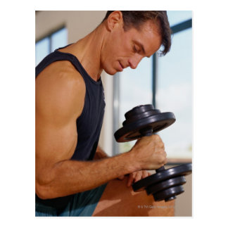 Man Lifting a Dumbbell Postcard