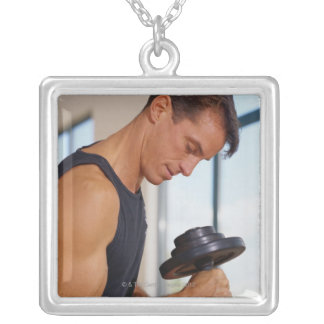 Man Lifting a Dumbbell Square Pendant Necklace