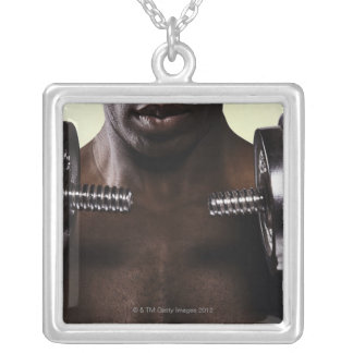 Man lifting dumbbells 2 square pendant necklace