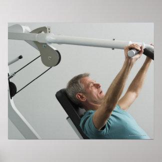 Man lifting weight at gym print