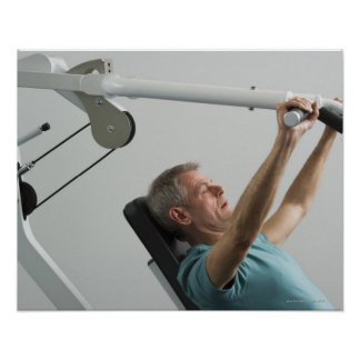 Man lifting weight at gym poster