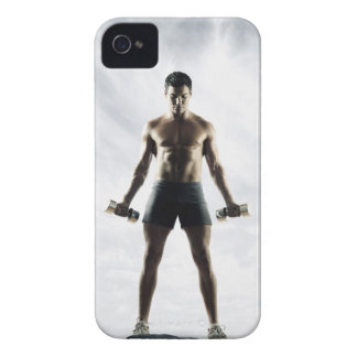 Man lifting weights 3 iPhone 4 Case-Mate case