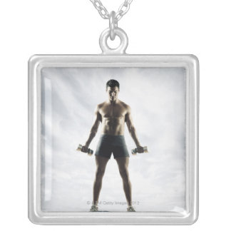 Man lifting weights 3 silver plated necklace