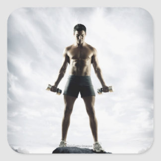 Man lifting weights 3 square sticker