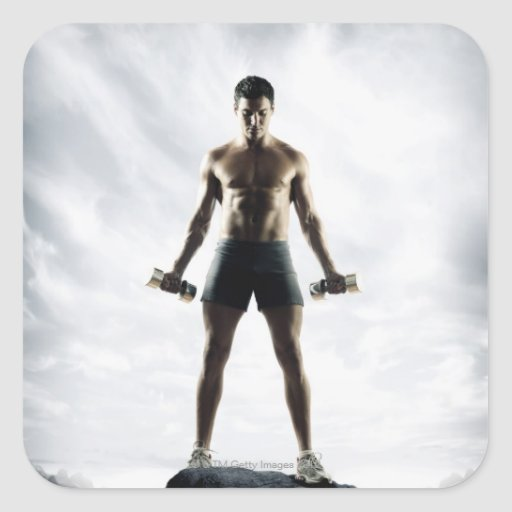 Man lifting weights 3 stickers
